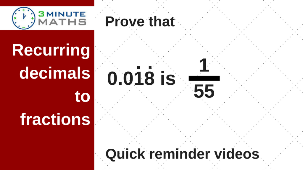 recurring decimals to fractions
