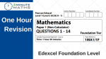 One Hour Revision – Edexcel Foundation paper 1 non calculator