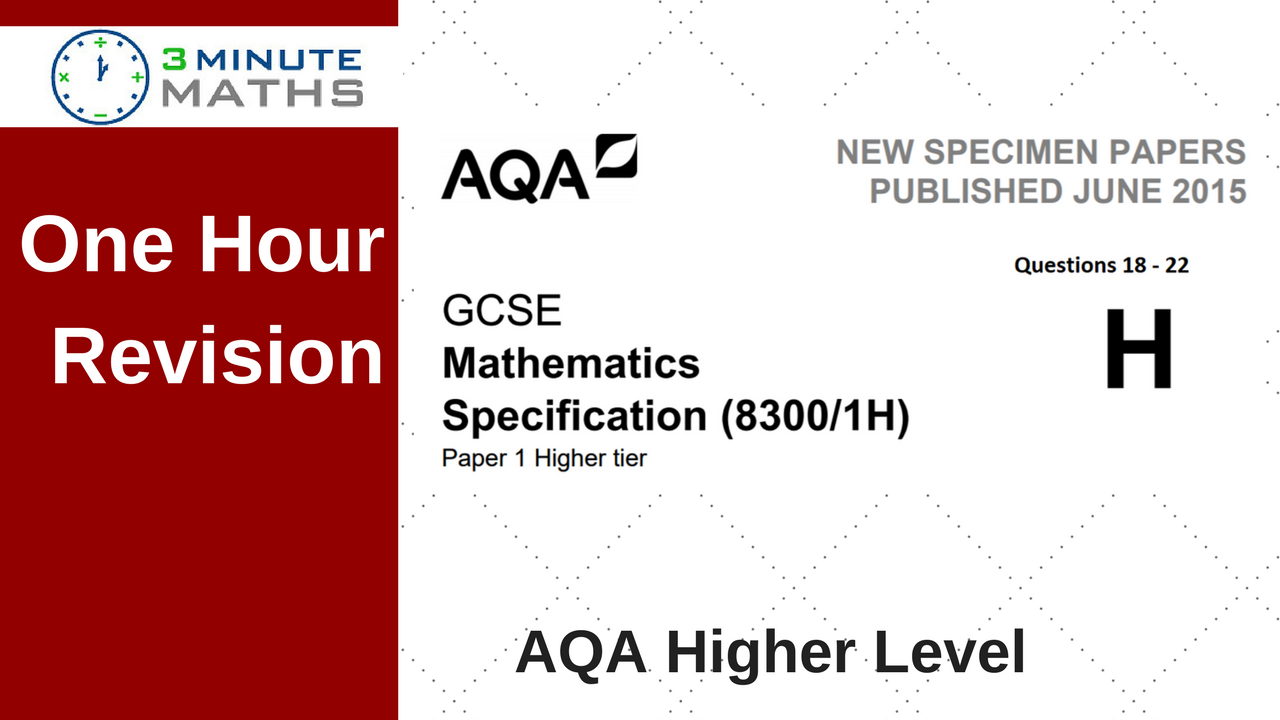 One hour revision aqa gcse higher maths non calculator questions falaconquin