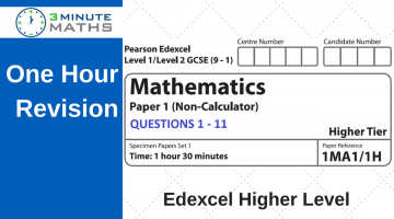Edexcel GCSE Maths Past Paper – Higher Non Calculator – Set 1