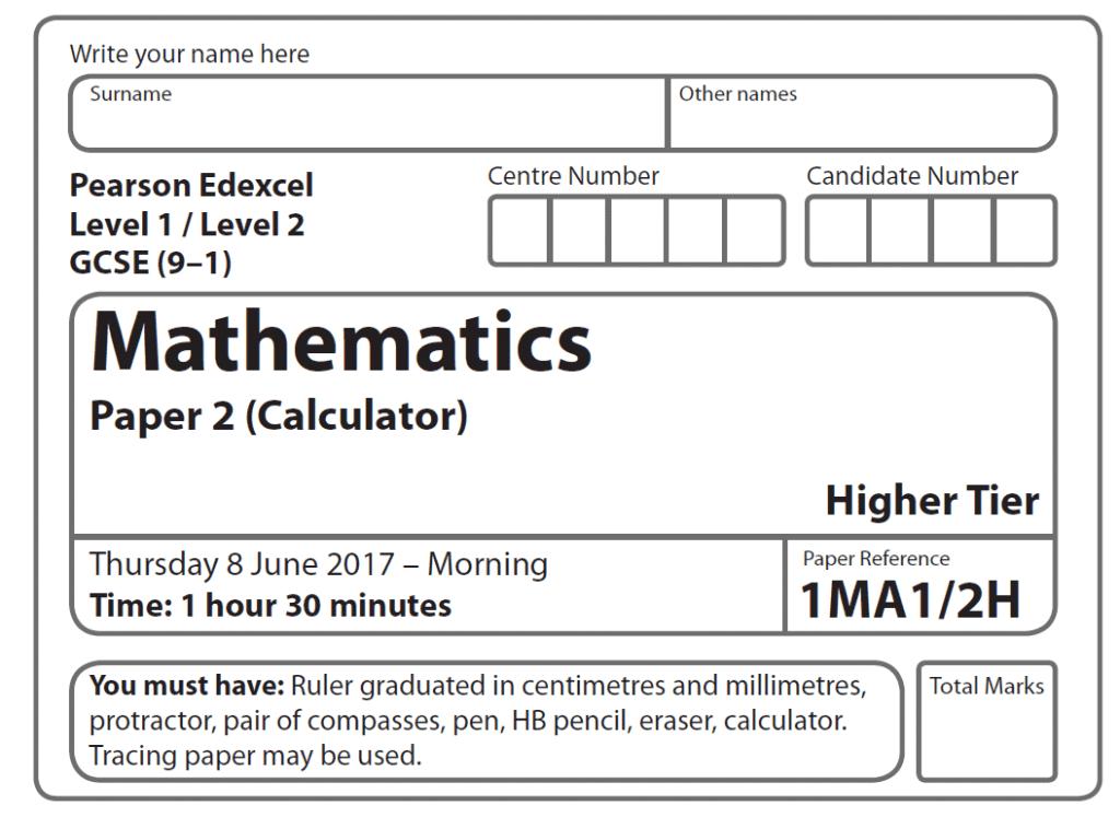 Edexcel GCSE Maths Higher 2017 – Paper 2