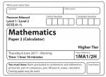 Edexcel GCSE Maths Higher 2017 – Paper 2 Questions
