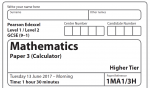 Edexcel Maths GCSE Higher Paper 2017 – Paper 3