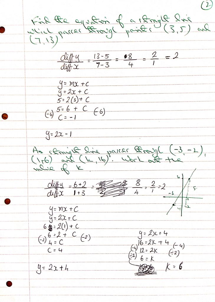straight line find equation_1