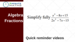 Simplify an algebra fraction using factorising