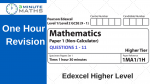Edexcel GCSE Maths Past Paper – Higher Non Calculator – Set 1