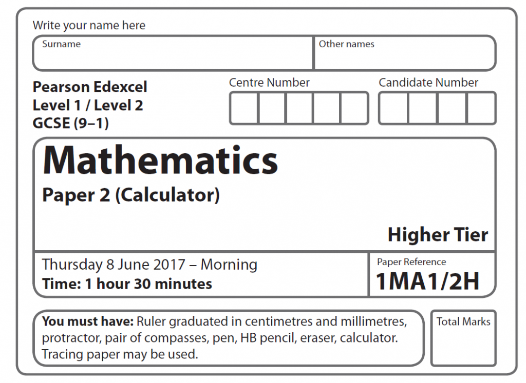 Edexcel GCSE Maths Higher 2017 – Paper 2