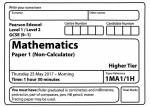 Edexcel GCSE Maths Higher Paper 2017 – Paper 1 Questions