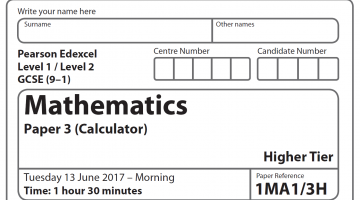 Edexcel Maths GCSE Higher Paper 2017 – Paper 3