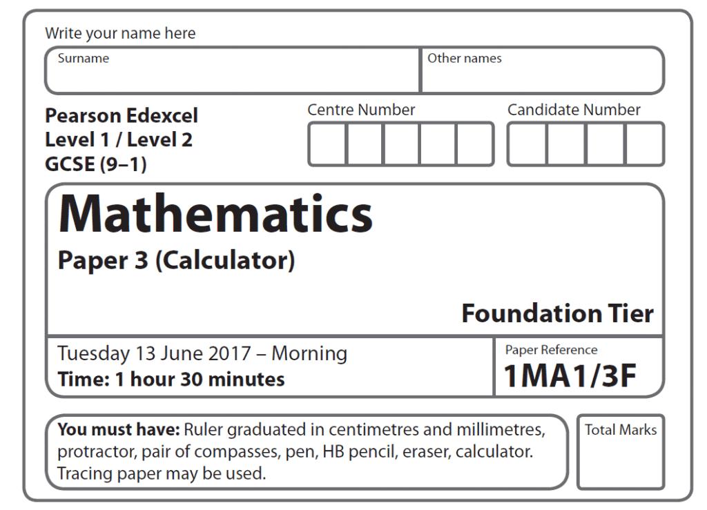 Edexcel GCSE Maths Foundation Paper 2017 - Paper 3