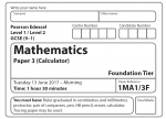 Edexcel GCSE Maths Foundation Paper 2017 – Paper 3