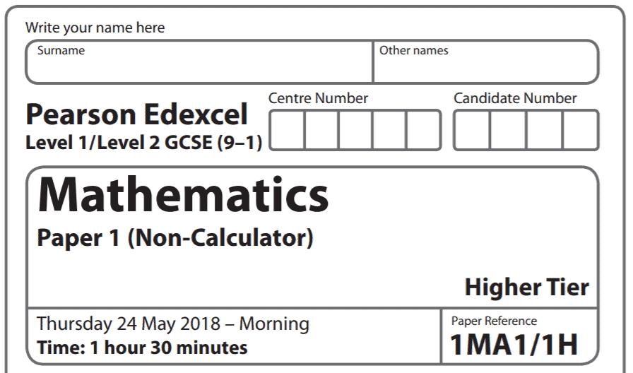 Edexcel GCSE Maths June 2018 Paper 1