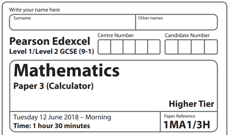 Edexcel GCSE Maths June 2018 Paper 3